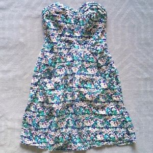 American Eagle || Strapless Floral Sundress